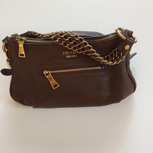 cfb09c276356 Dark brown leather Prada shoulder bag Authentic